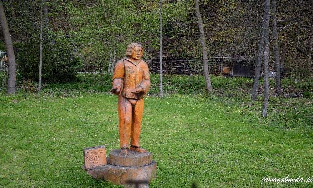 pomnik Franta Siska w Dolna łomna postać z piosenki Milioner Jarka Nohavicy