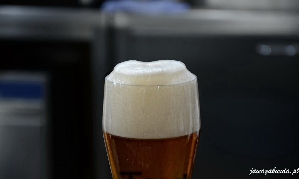 szklanka piwa z dobrze nalaną stojącą pianą
