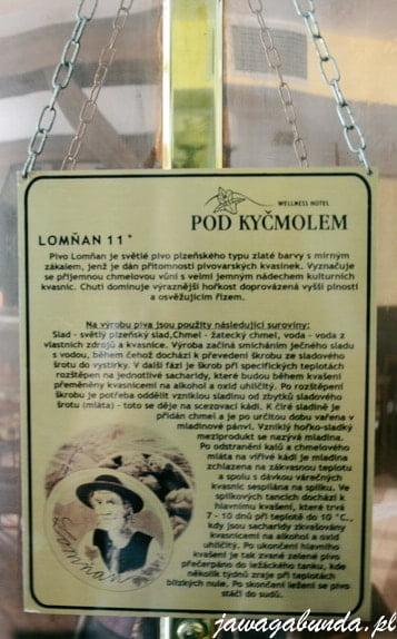 Czechy-Lomna-tablica z informacjami na temat produkcji piwa