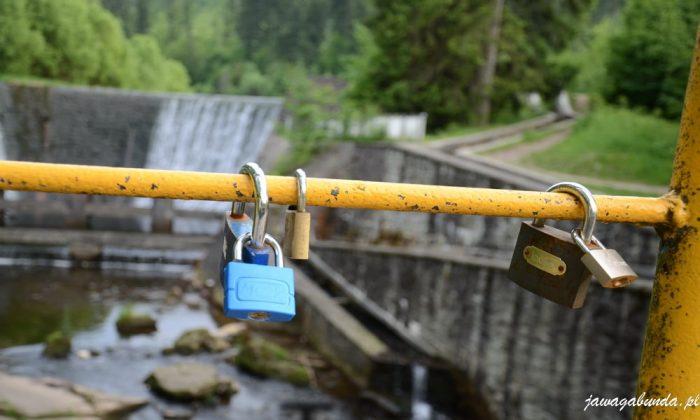 dwie kłódki zawieszone na moście nad rzeką