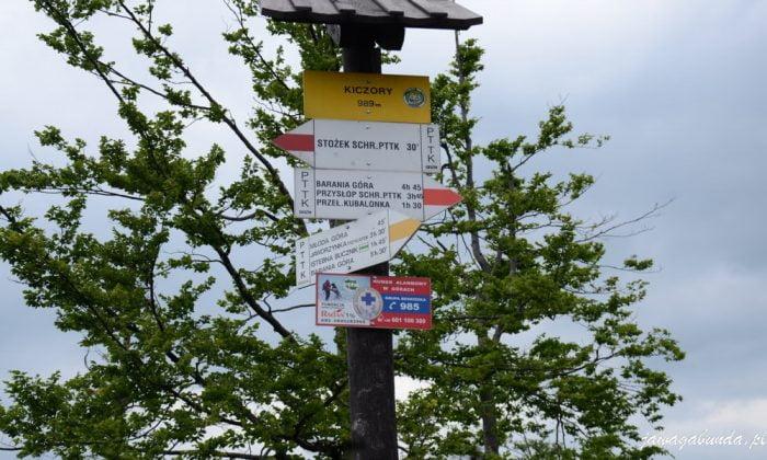 oznaczenia szlaków turystycznych kolorami - pomiędzy dwoma białymi paskami, pasek w kolorze:czerwonym, niebieskim,zielonym lub żółtym