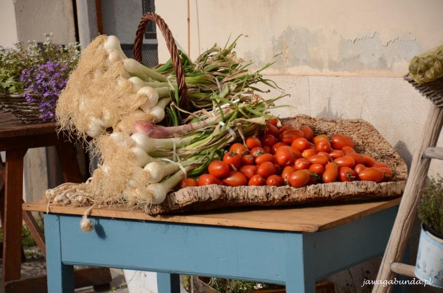 pomidory i por na pomalowanym na niebiesko stole