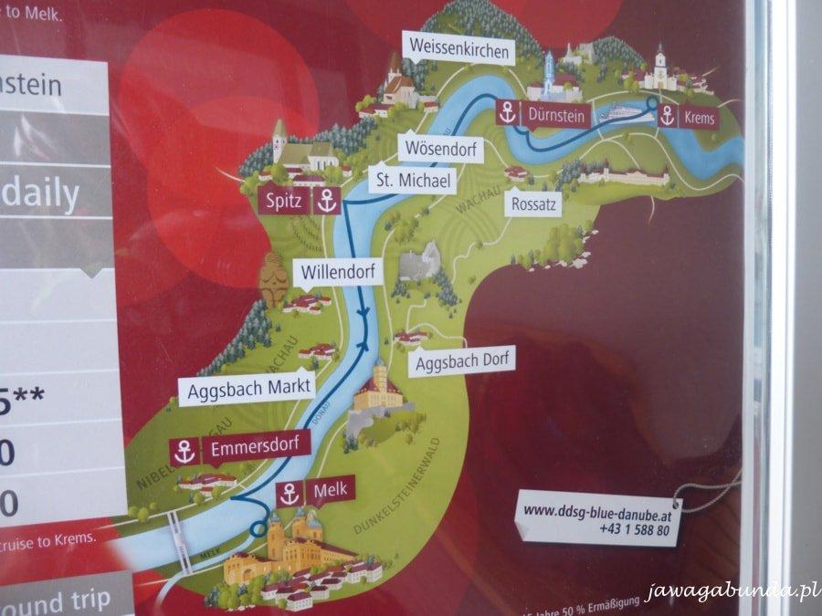 mapka z zanaczonymi miejscowosciami w dolinie wachau