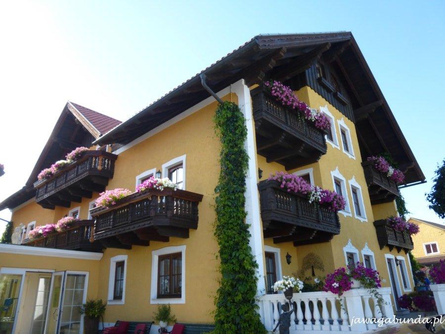 budynek hotelu z balkonami obrośniętymi kwiatami