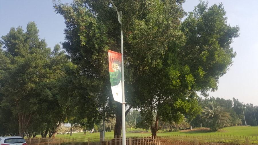 flagi na słupach z napisem 45
