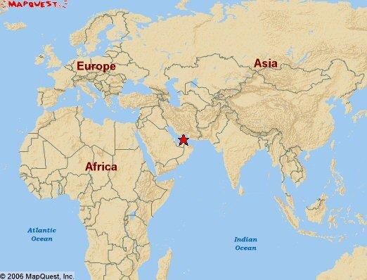 mapa części świata z zaznaczeniem gdzie leża Zjednoczone Emiraty Arabskie
