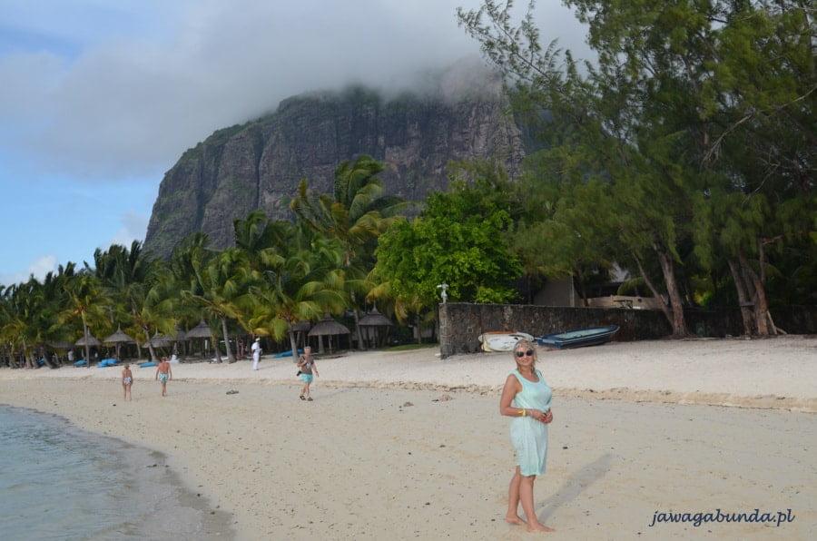 kobieta stojąca na plaży w tle palmy i góra