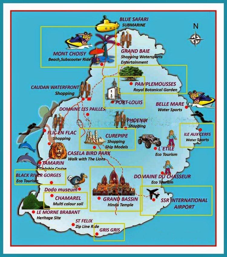 mapa wyspy z zaznaczonymi atrakcjami