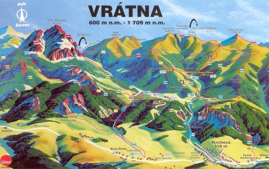 mapa gór i napis Vratna