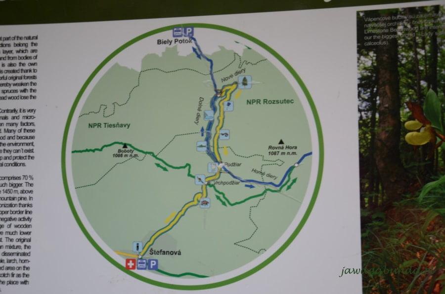 mapa z trasami