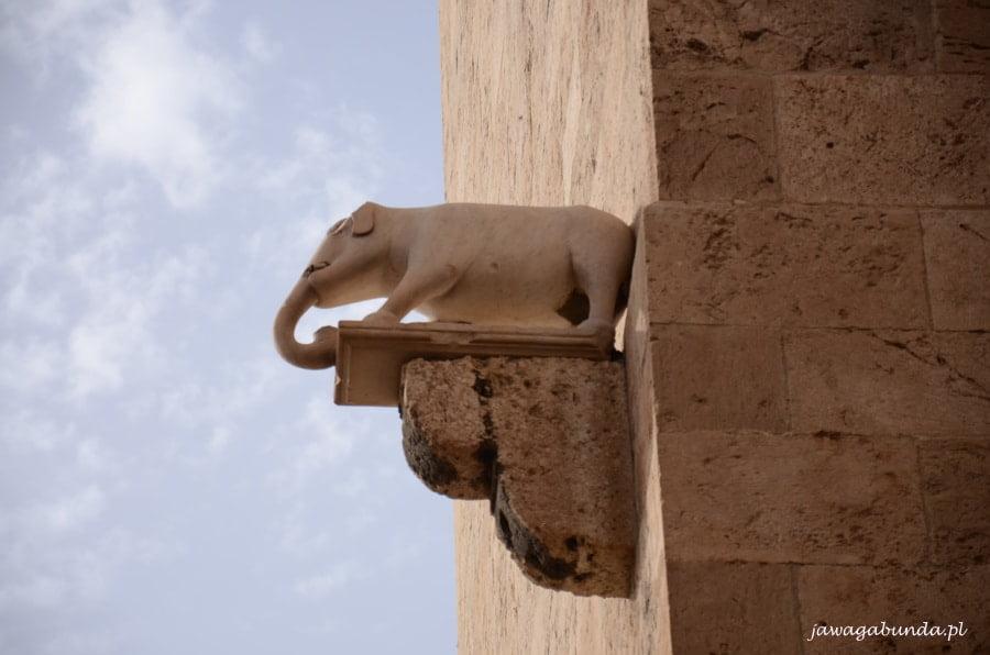 rzeźba słonia na murze