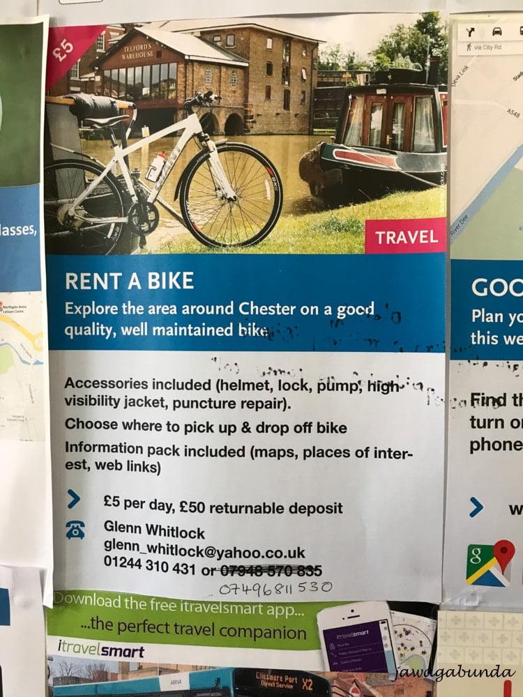 ogłoszenie o wypożyczeniu rowerów