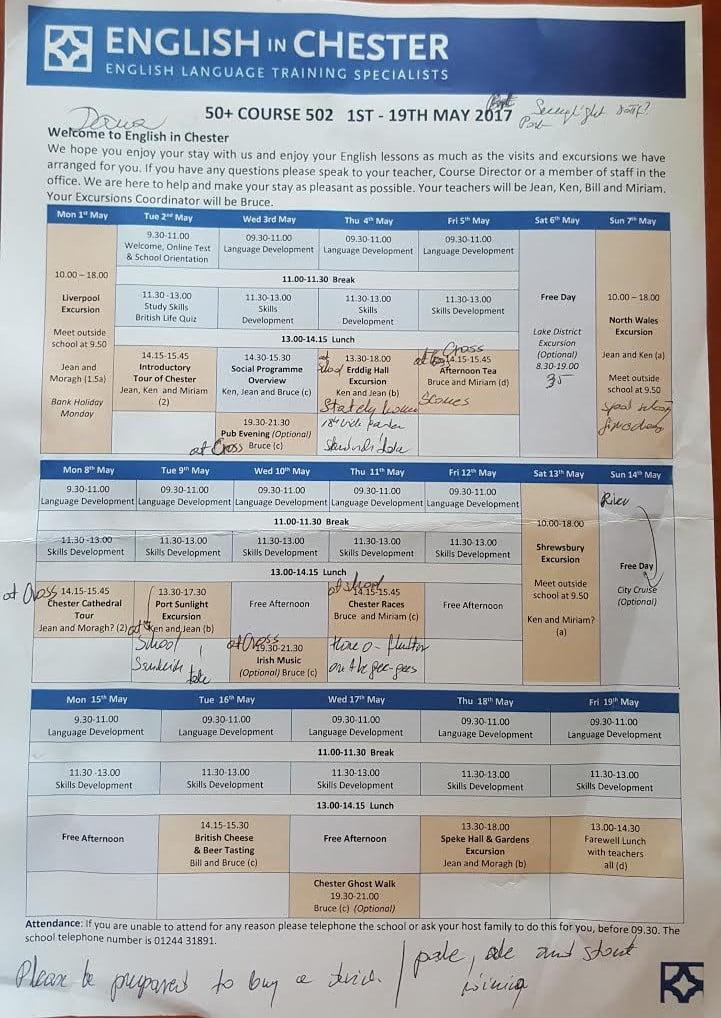 plan zajeć tygodniowych nauki języka angielskiego