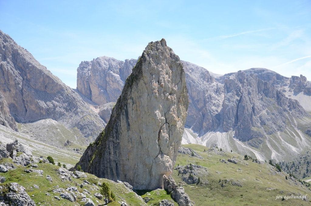 pojedyncza, potężna skała na środku polany