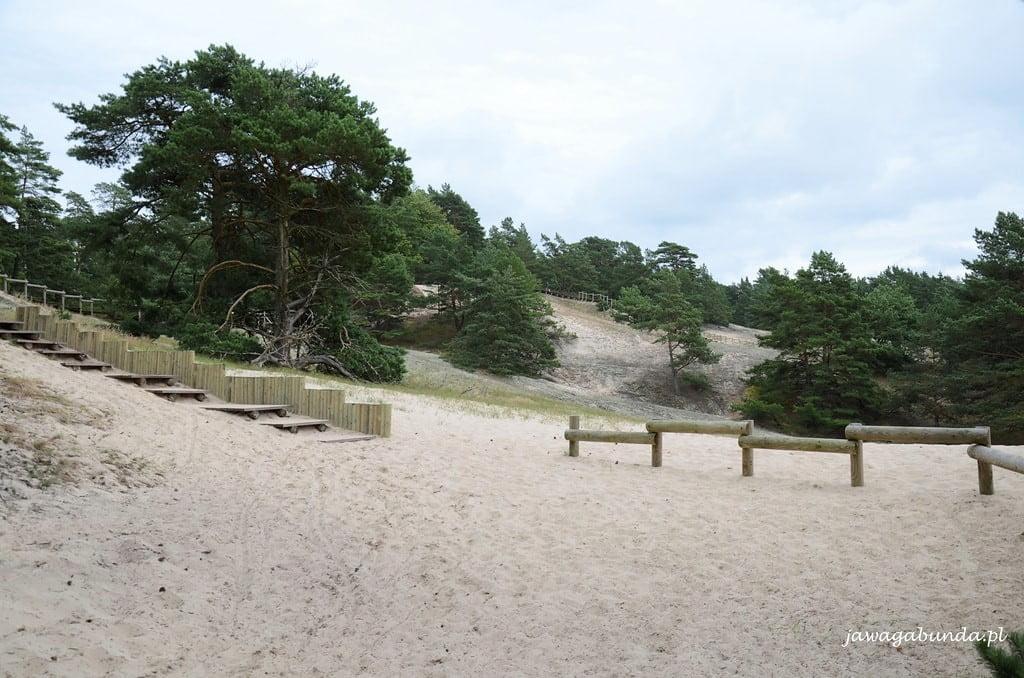 drewniane schody i podesty na wydmie