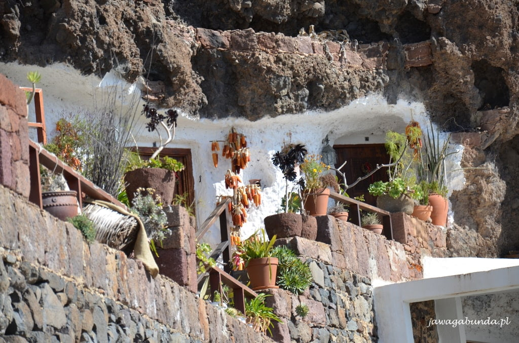 uliczka z kamiennymi domami i rośliny w donicach