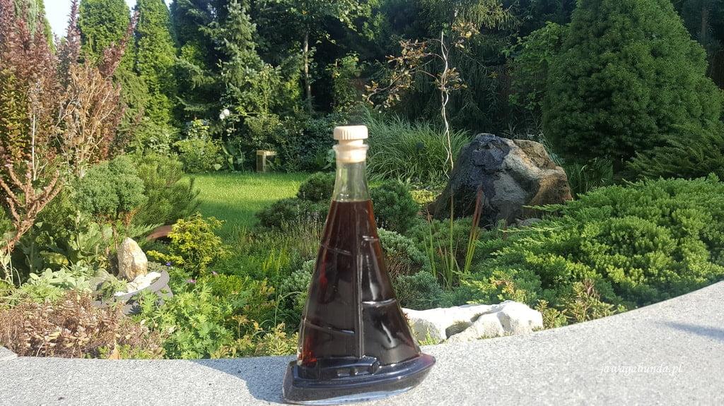 butelka w kształcie żaglówki w ogrodzie