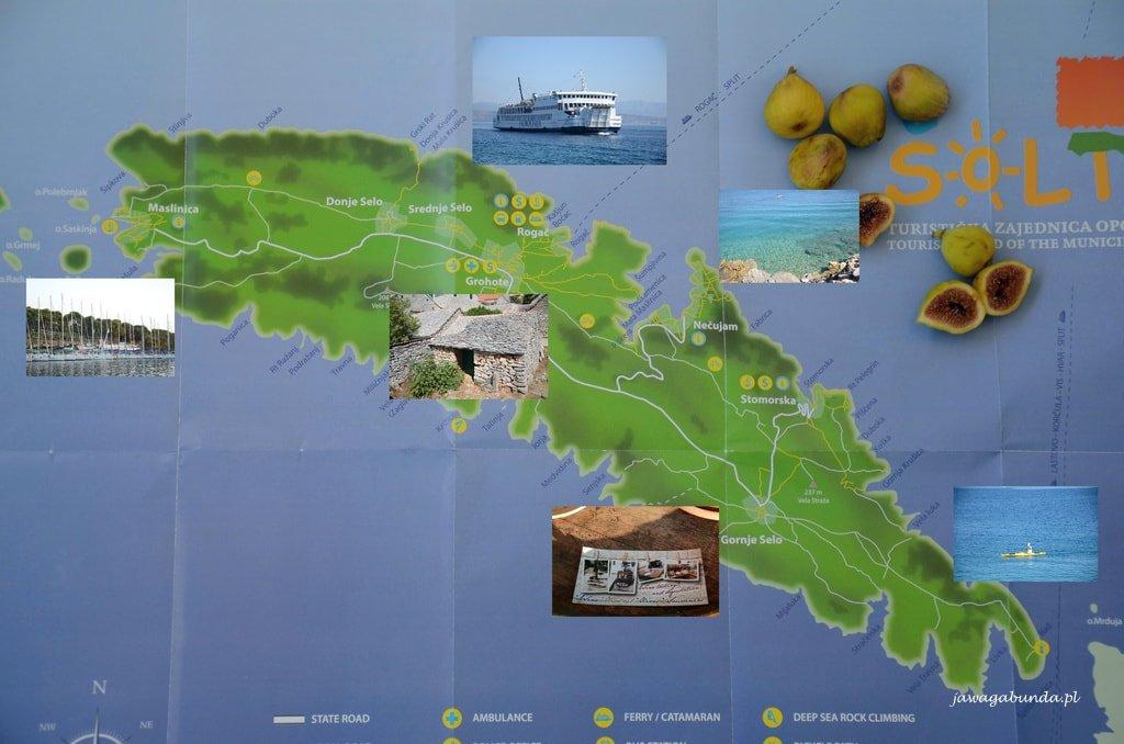 mapa wyspy Solta