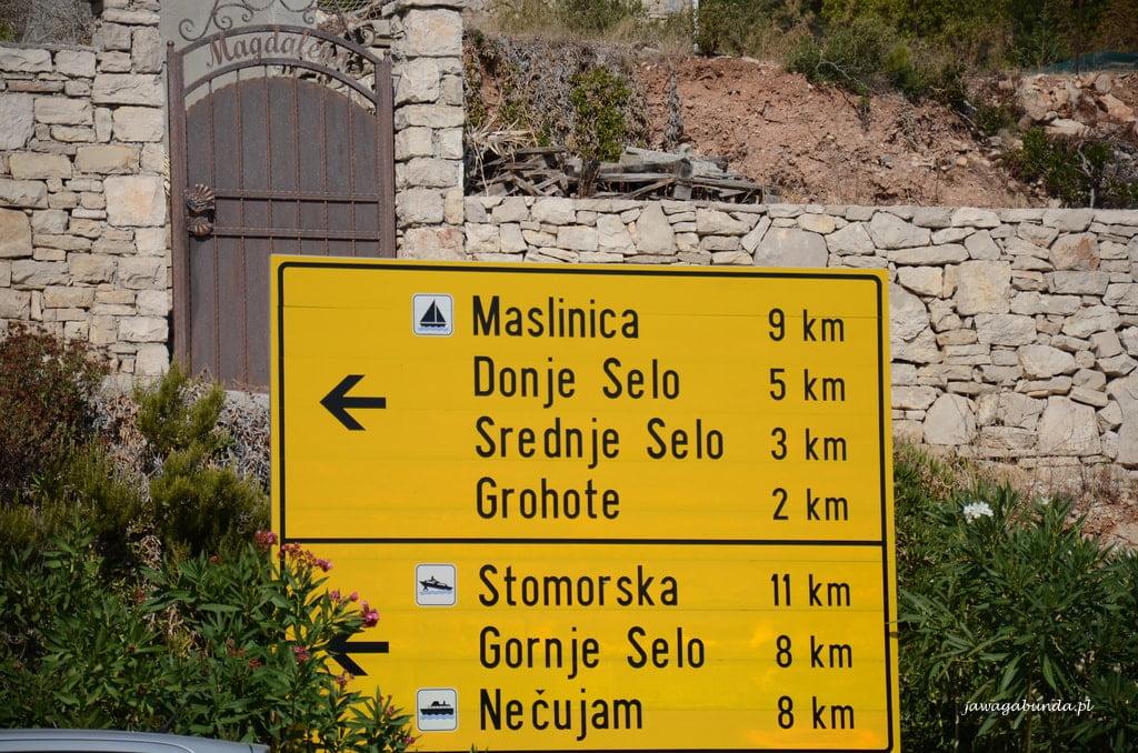 tablica z miejscowościami i odległościami