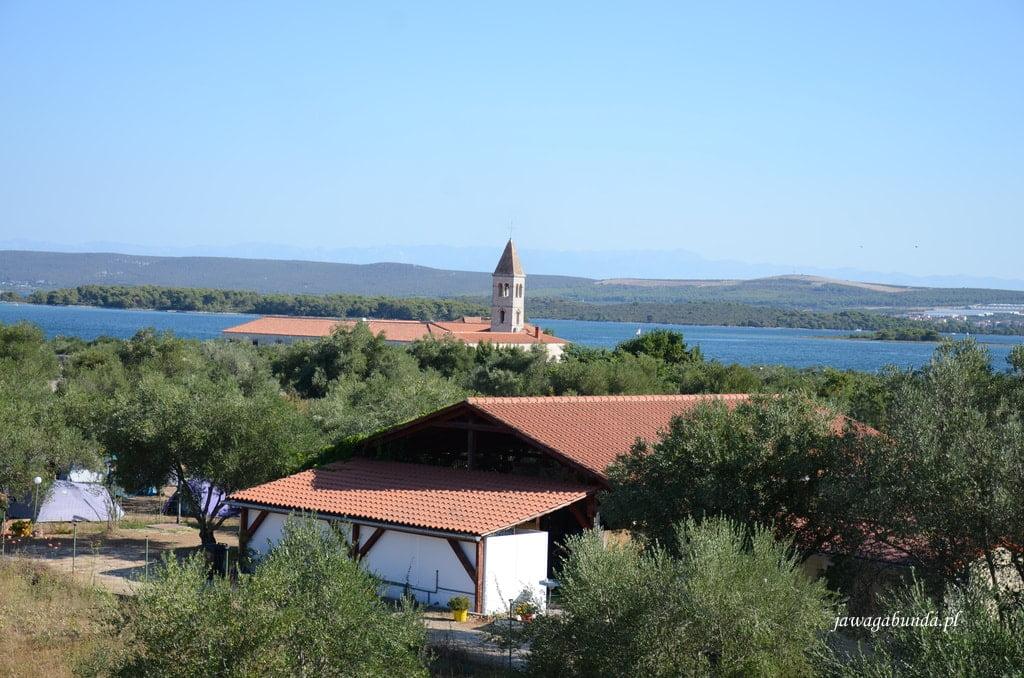 widok na kościół i gaj oliwny