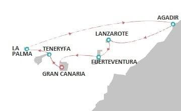 trasa rejsu na Wyspach Kanaryjskich zaznaczona an mapie