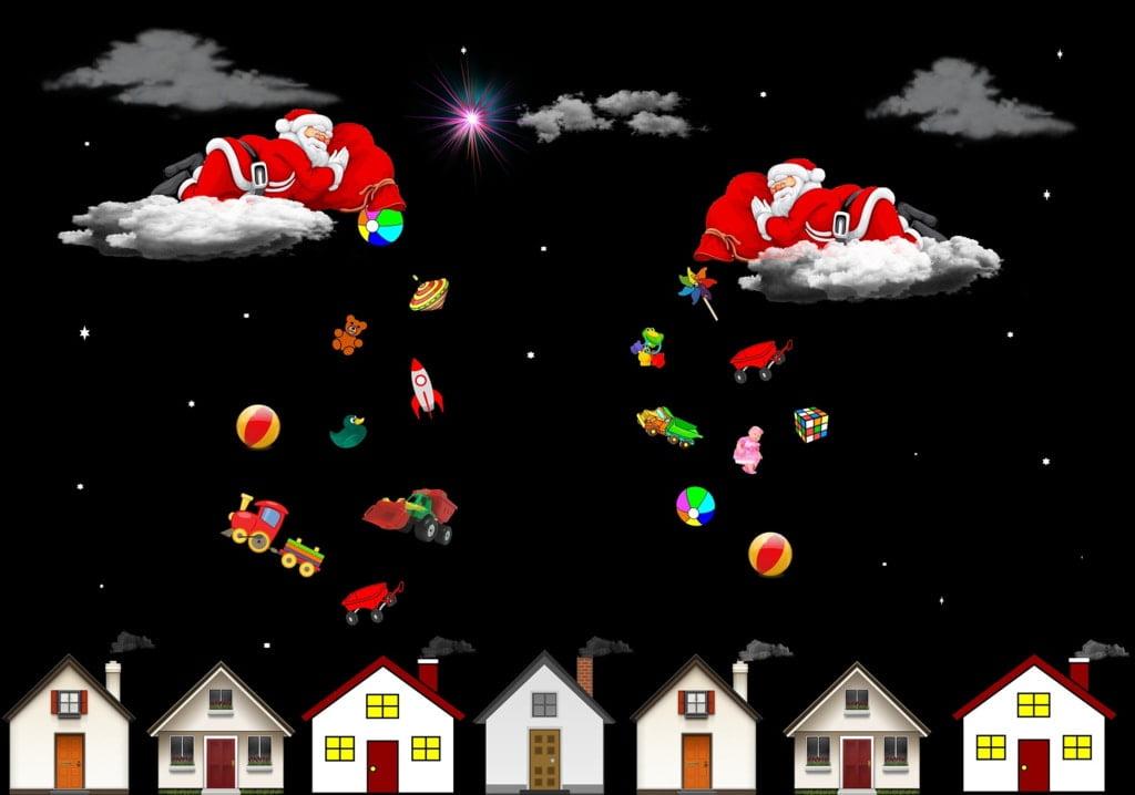 Święte Mikołaje nad domami rzucają prezentami