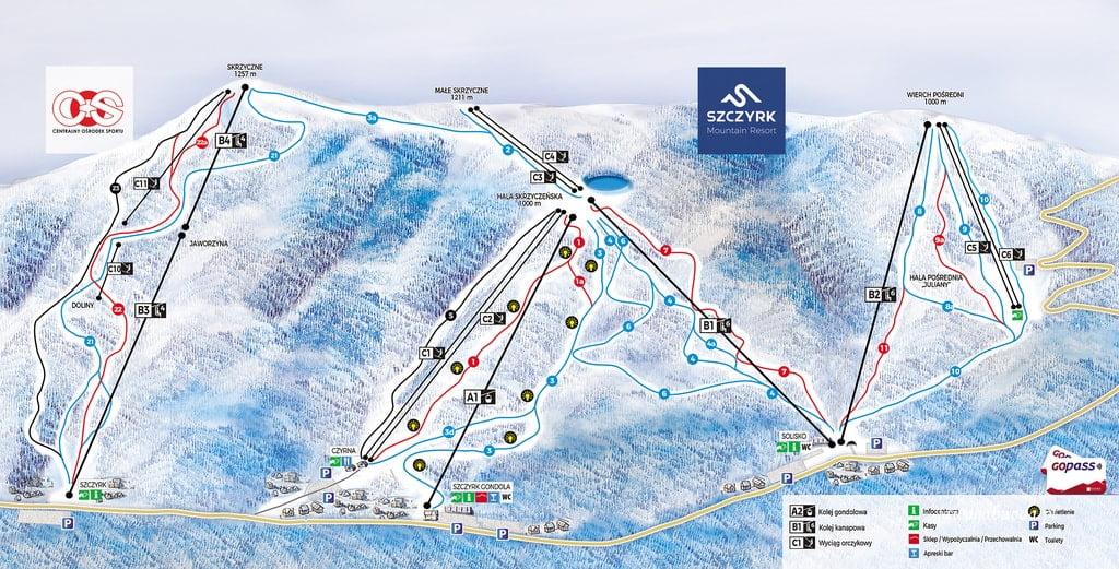 mapa tras narciarskich Szczyrk
