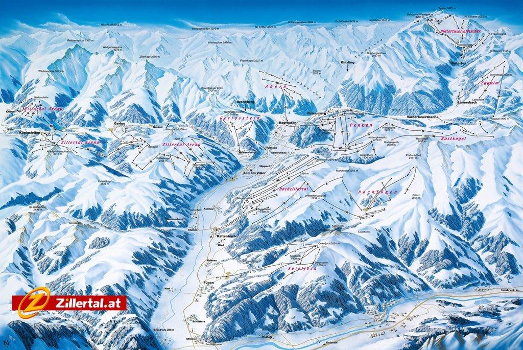 mapka regionu narciarskiego Zillertal