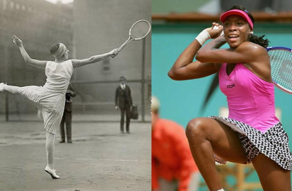 kobiecy strój tenisowy kiedyś i teraz