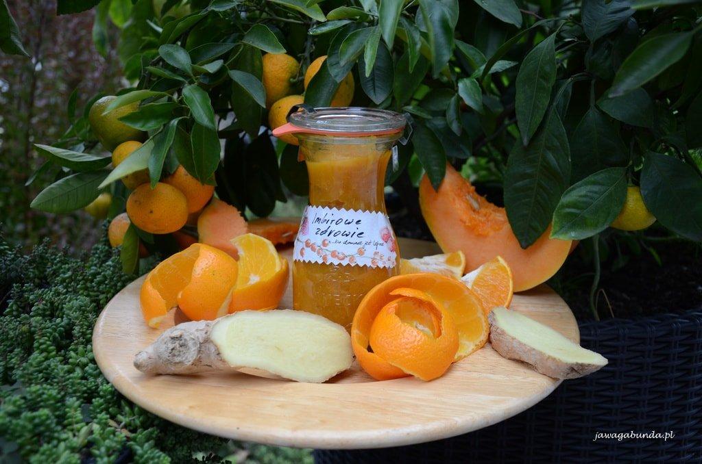 dżem imbirowy, słoik, dynia, pomarańcza
