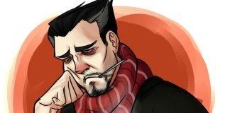 przeziębiony mężczyzna
