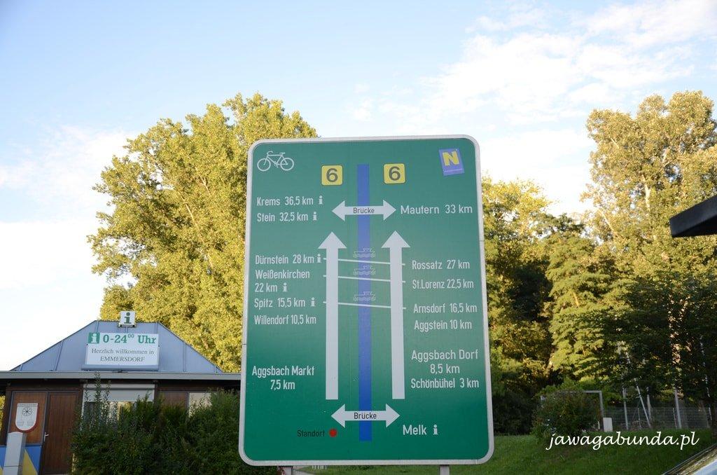 oznaczenia na trasie rowerowej w Austrii