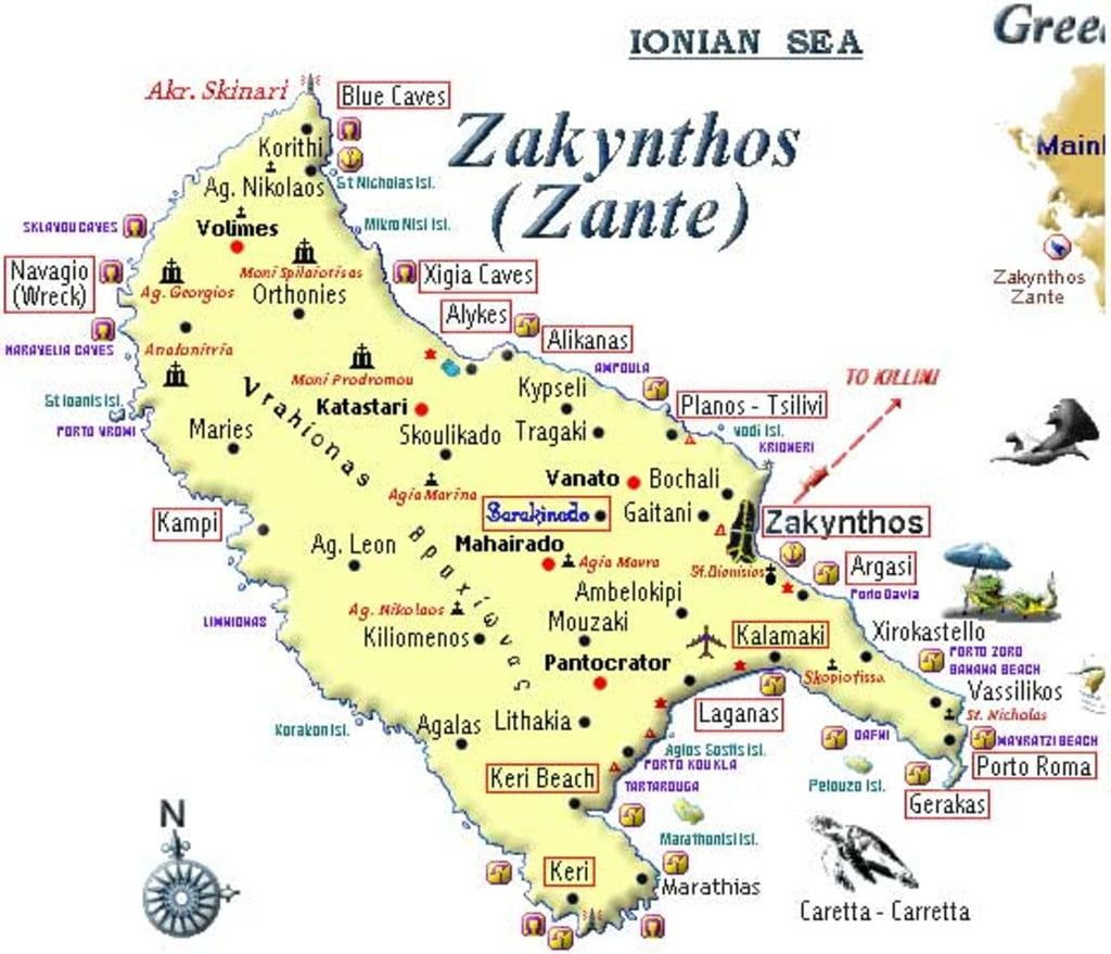 mapa wyspy zakyntos