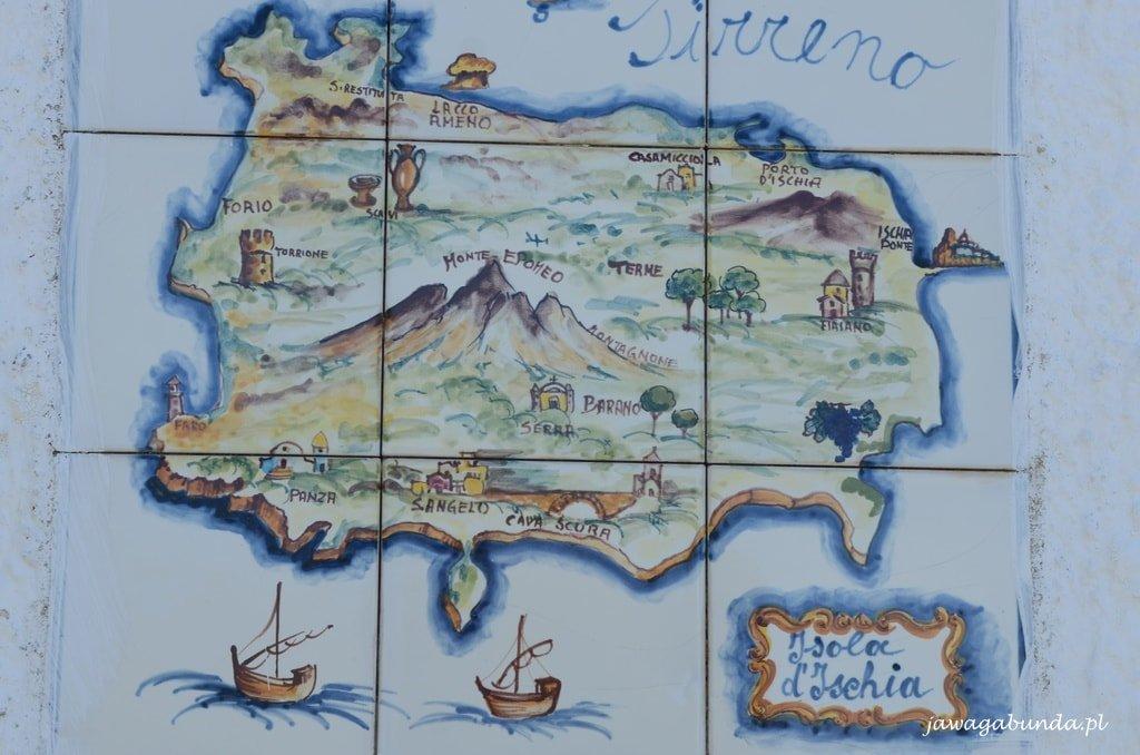 wyspa Ischia malowana na kaflach