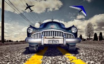 samochód, samolot i lotnia