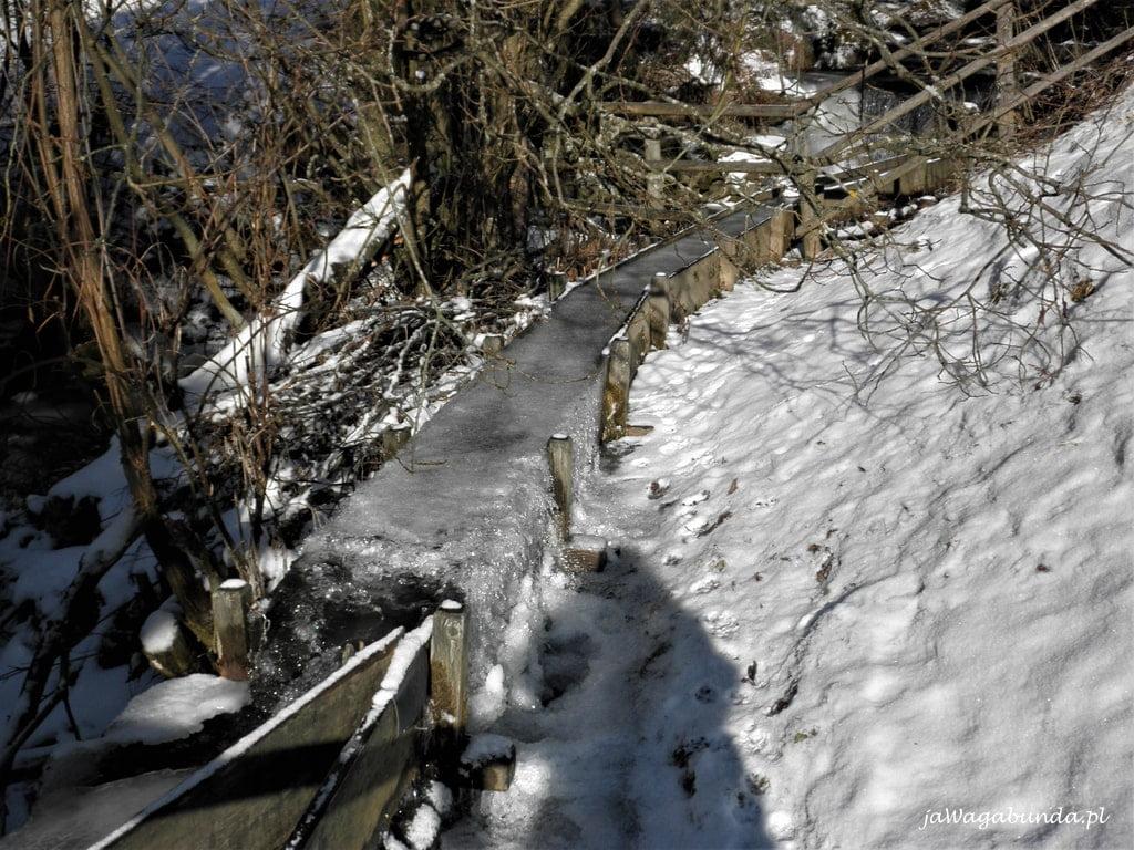 zamarznięty strumień w górach wokół śnieg