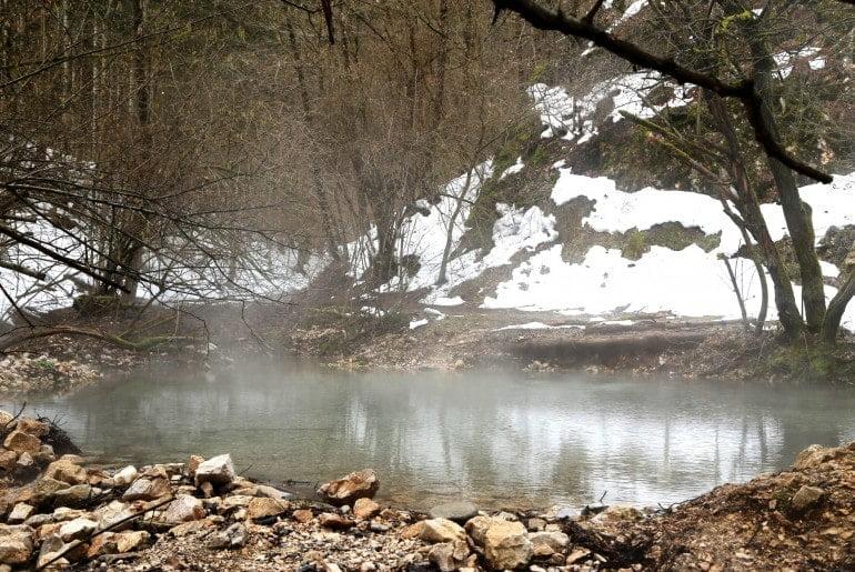 jeziorko w lesie z wodą temalną
