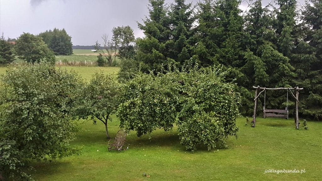 leżak pod drzewem w sadzie