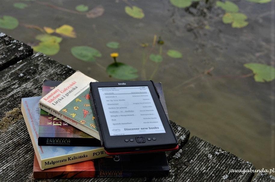 książki na pomście nad jeziorem