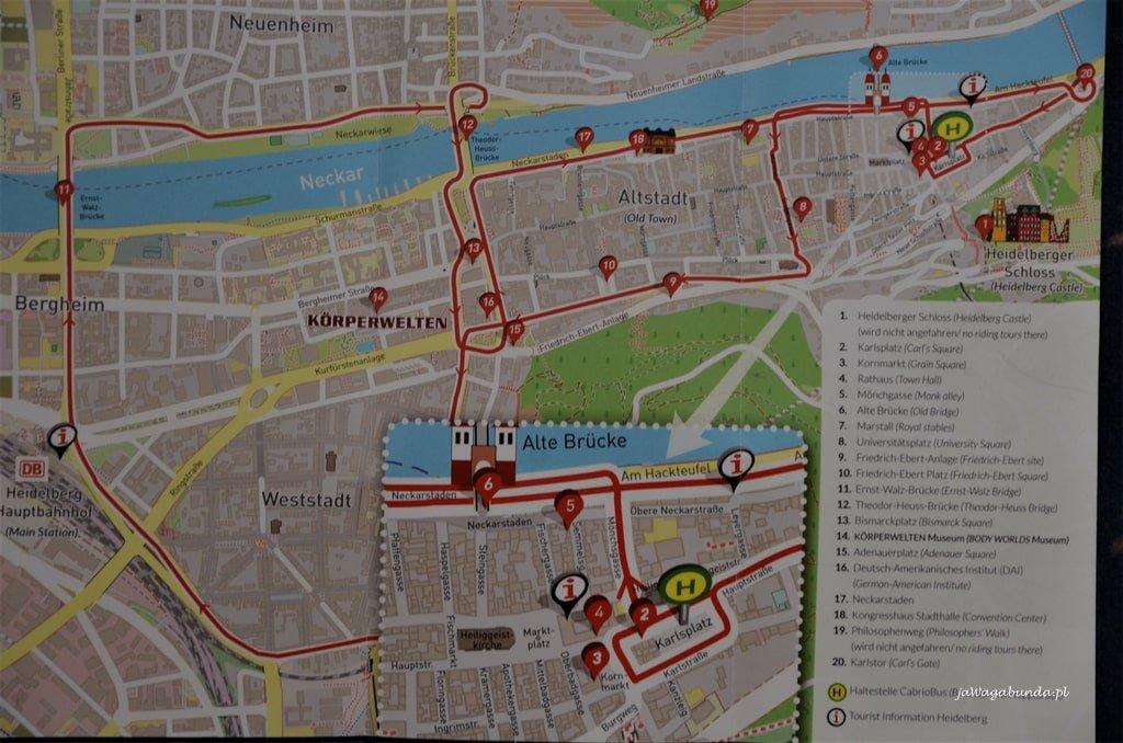 plan zwiedzania Heidelberg