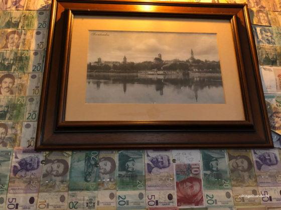 obraz na ścianie wytapetowanej pieniędzmi