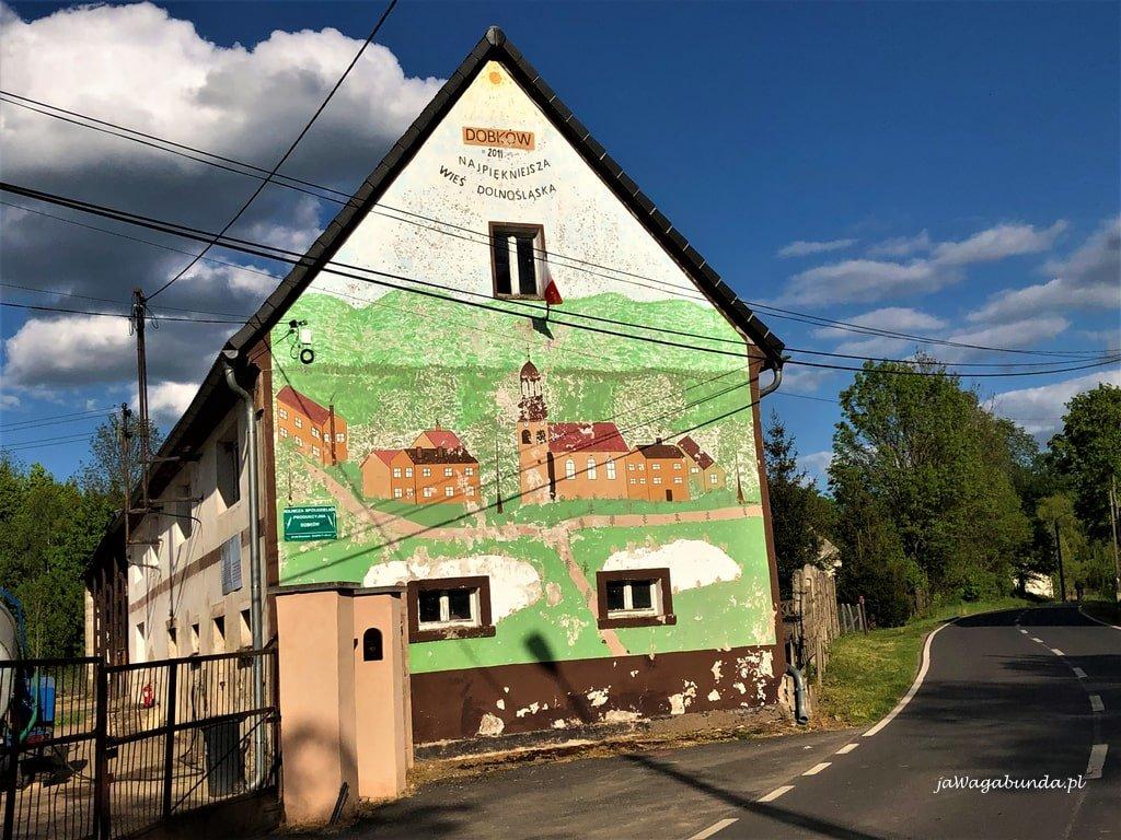 dom pomalowany na kolorowo w dobkowie