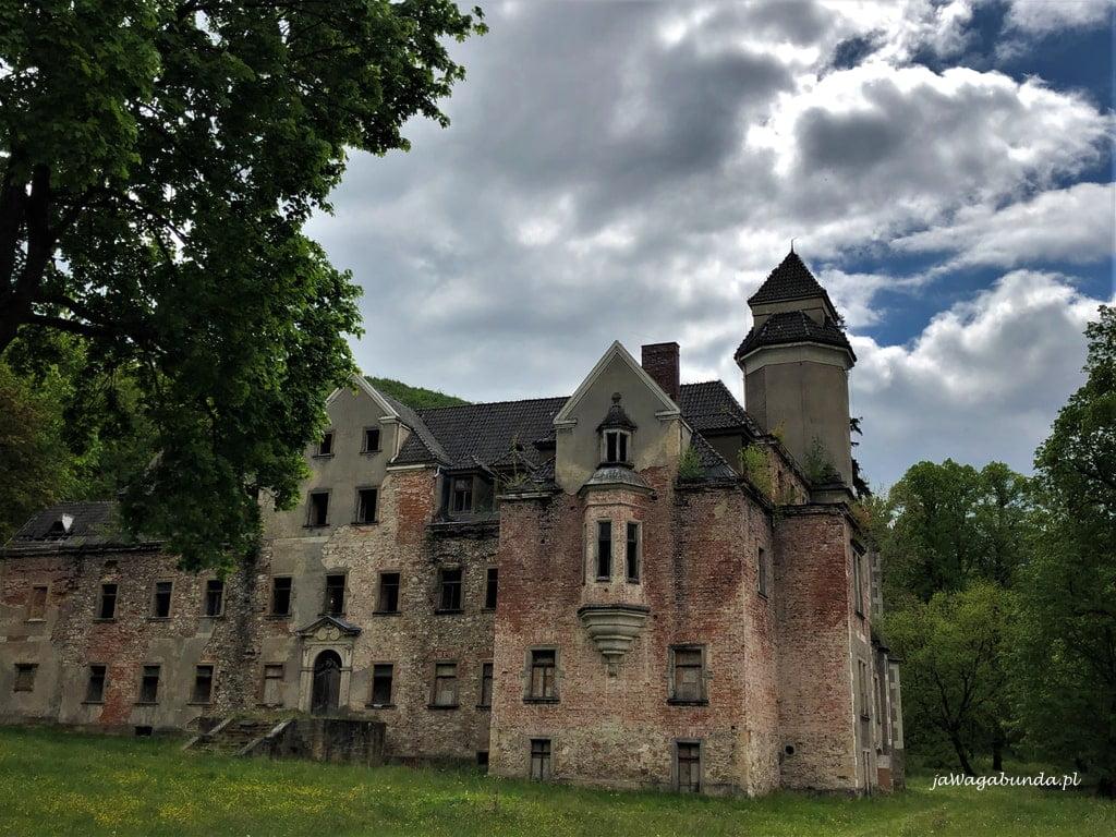 pałac w Wojcieszowie ruina: bez okien i tynków, wokół duży park
