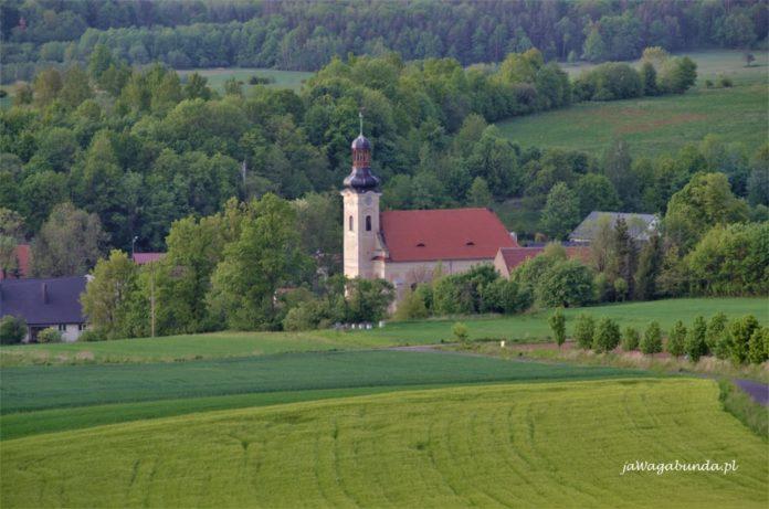 wieża kościoła widoczna w środku wsi w dobkowie wokół zieleń