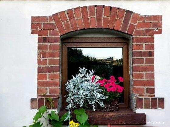 okno ceglane z kwiatami na parapecie