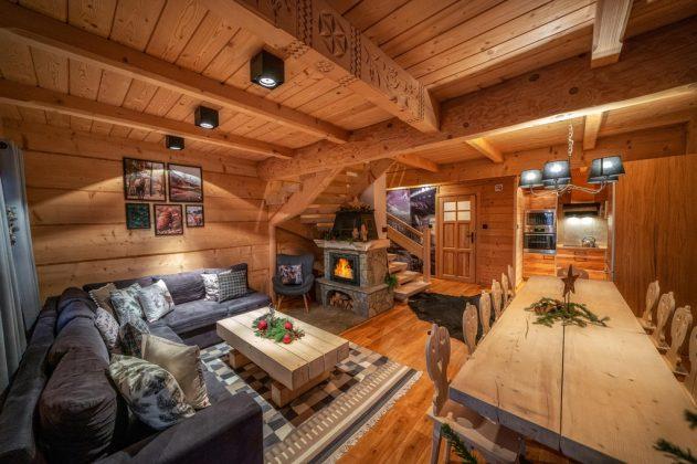 wnętrze luksusowego góralskiego domu
