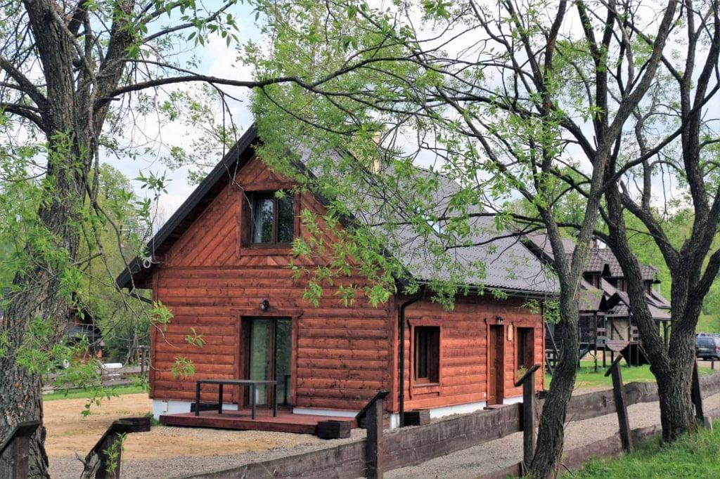 drewniany dom, przed domem rośnie drzewo
