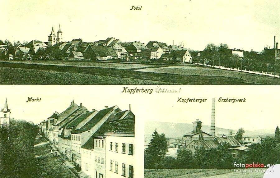 stara widokówka z widokiem na dawne miasto miedzianka