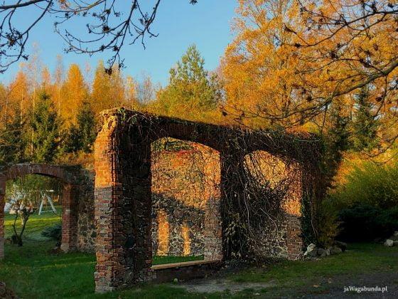 ruiny murów w ogrodzie