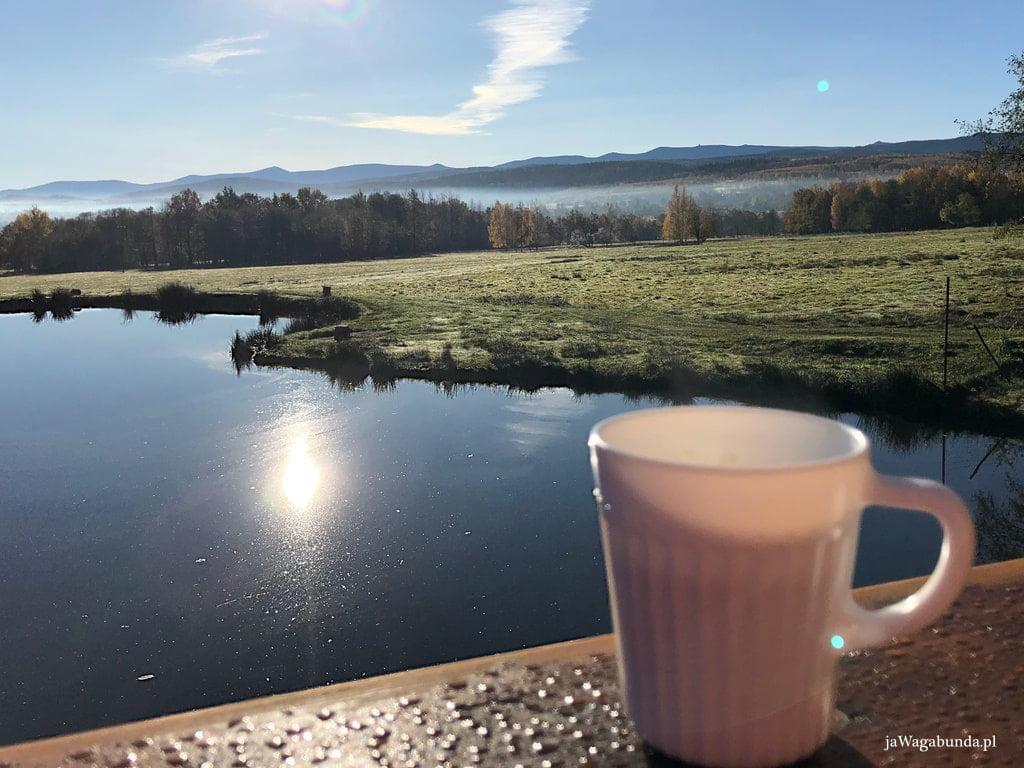 widok na góry, staw , na pierwszym planie filiżanka z kawą